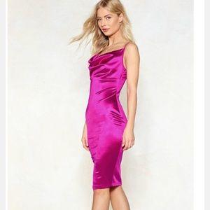 Hot Pink Satin Midi Dress